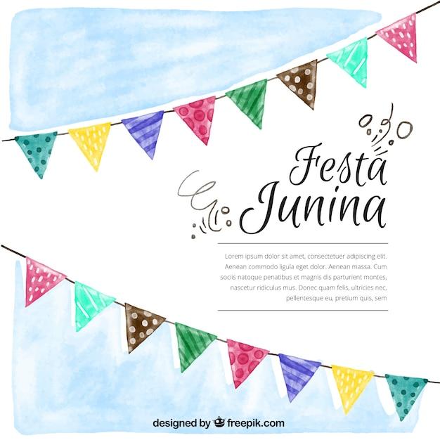Aquarela Festa junina fundo com buntings Vetor grátis
