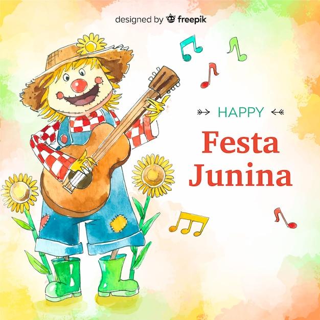 Aquarela festa junina fundo Vetor grátis