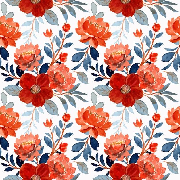 Aquarela flor de laranjeira e folhas azuis padrão sem emenda Vetor Premium