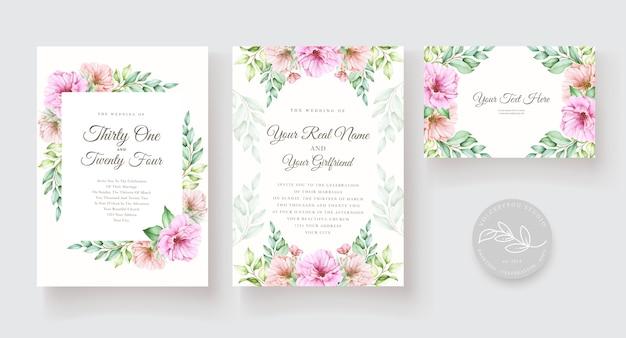 Aquarela floral e conjunto de cartão de convite de folhas Vetor grátis