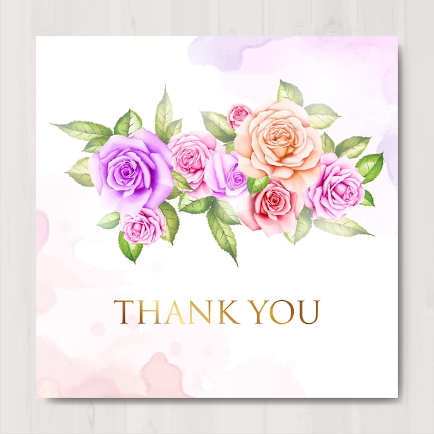 Aquarela floral e deixa cartão de agradecimento Vetor Premium