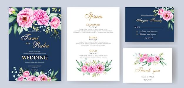 Aquarela floral e deixa o modelo de cartão de casamento Vetor Premium