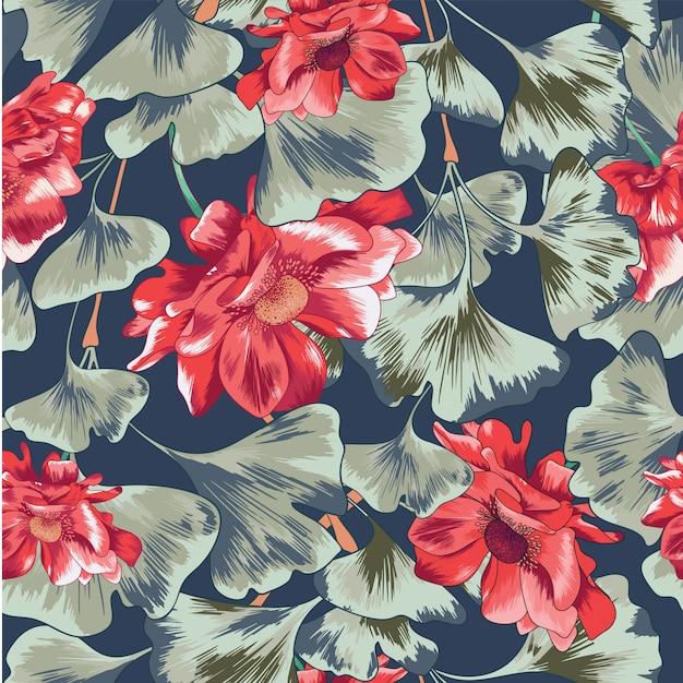 Aquarela floral folhas sem costura de fundo Vetor Premium