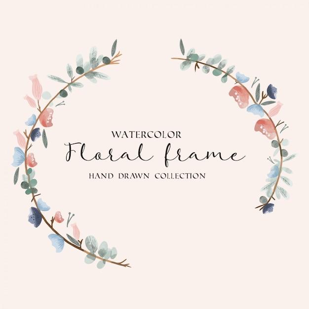 Aquarela floral frame mão desenhada coleção Vetor Premium