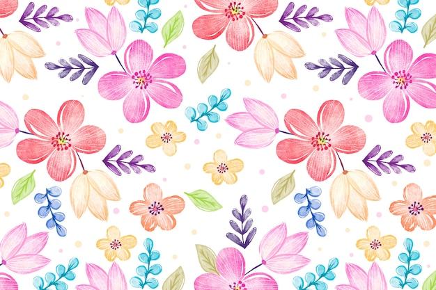 Aquarela floral fundo com cores suaves Vetor grátis