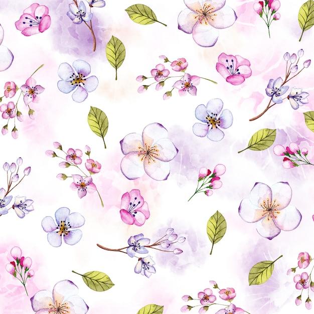 Aquarela floral fundo com elementos pintados à mão Vetor Premium