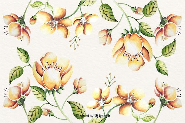 Aquarela floral fundo vintage Vetor grátis