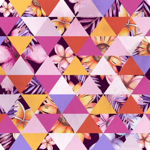 Aquarela floral geométrica Vetor Premium