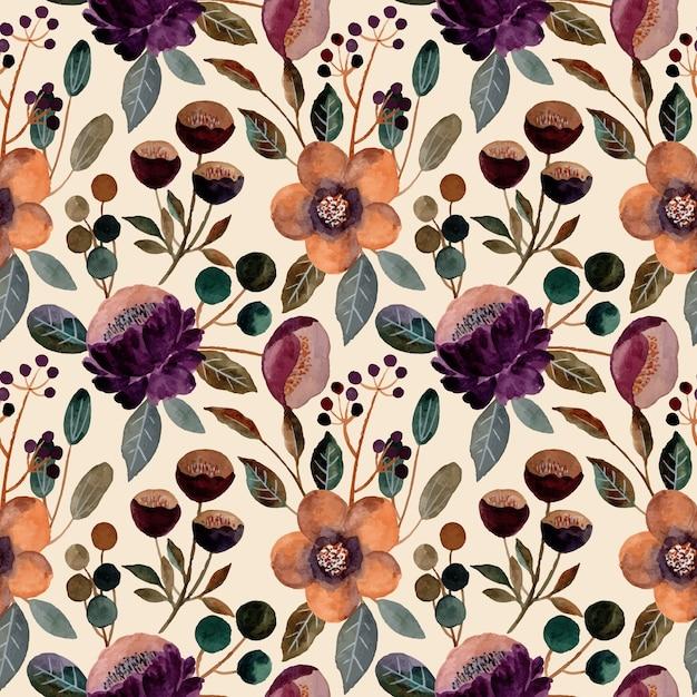 Aquarela floral padrão sem emenda Vetor Premium