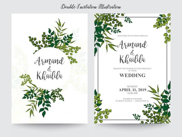Aquarela floral para ilustração de design de convite Vetor Premium