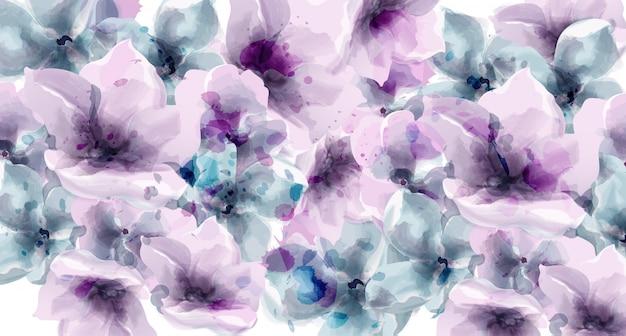 Aquarela floral roxa. cartaz rústico de provence. cartão de casamento, decorações de eventos de cerimônia de aniversário Vetor Premium