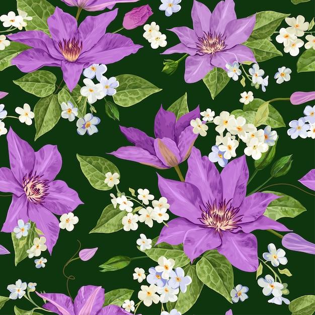 Aquarela flores floral tropical padrão sem emenda Vetor Premium