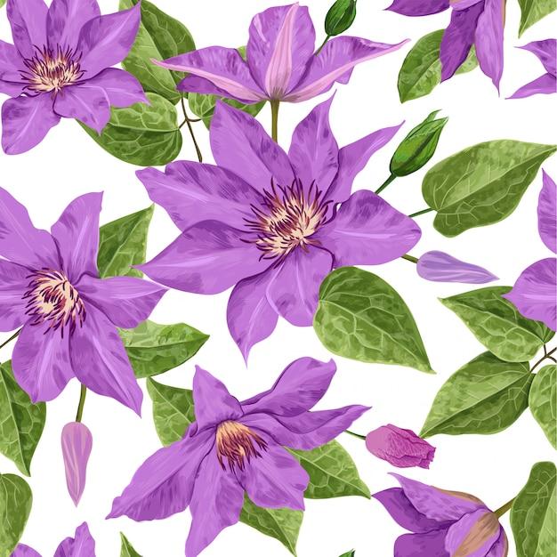 Aquarela flores tropical padrão sem emenda Vetor Premium