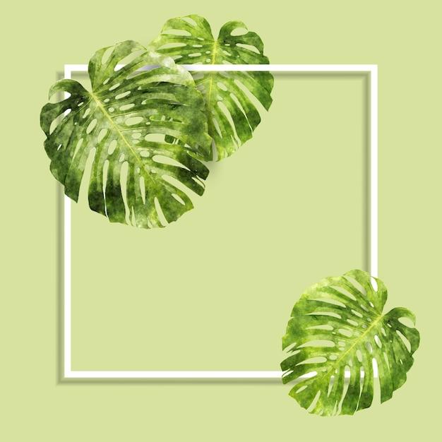 Aquarela folhas e fundo de quadro Vetor grátis