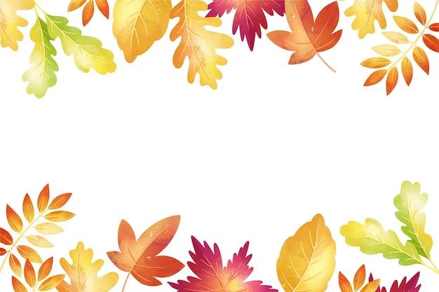 Aquarela fundo outono com folhas Vetor grátis