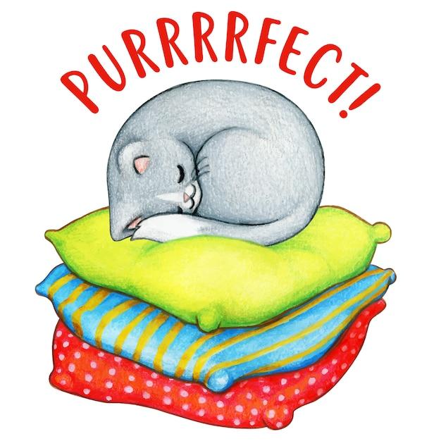 Aquarela gatinho cinzento dormindo em almofadas coloridas Vetor Premium
