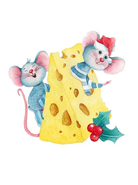 Aquarela ilustração de natal de ratos bonito dos desenhos animados no queijo Vetor Premium