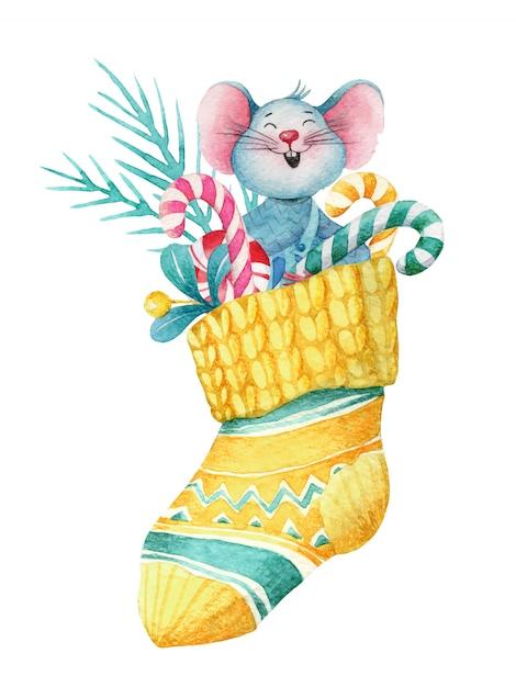 Aquarela ilustração de natal do mouse na meia com decorações Vetor Premium