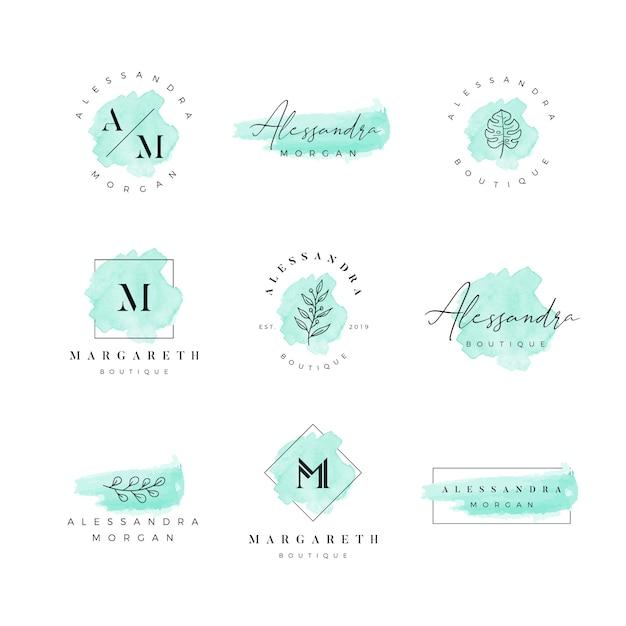Aquarela logotipo feminino Vetor Premium