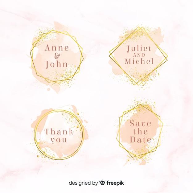 Aquarela manchas coleção de distintivos de casamento Vetor grátis