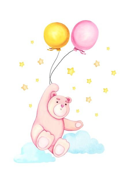 Aquarela mão desenhada bonito dos desenhos animados urso com o balão no ar. Vetor Premium