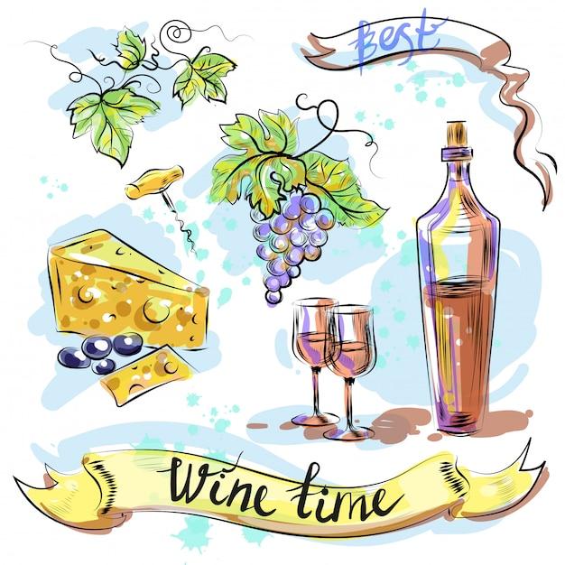 Aquarela melhor vinho tempo conceito desenho ilustração vetorial Vetor Premium