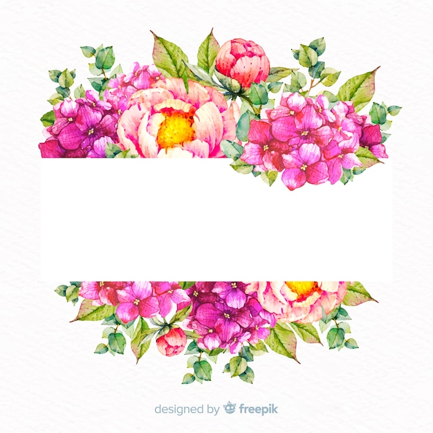 Aquarela moldura floral com banner em branco Vetor grátis