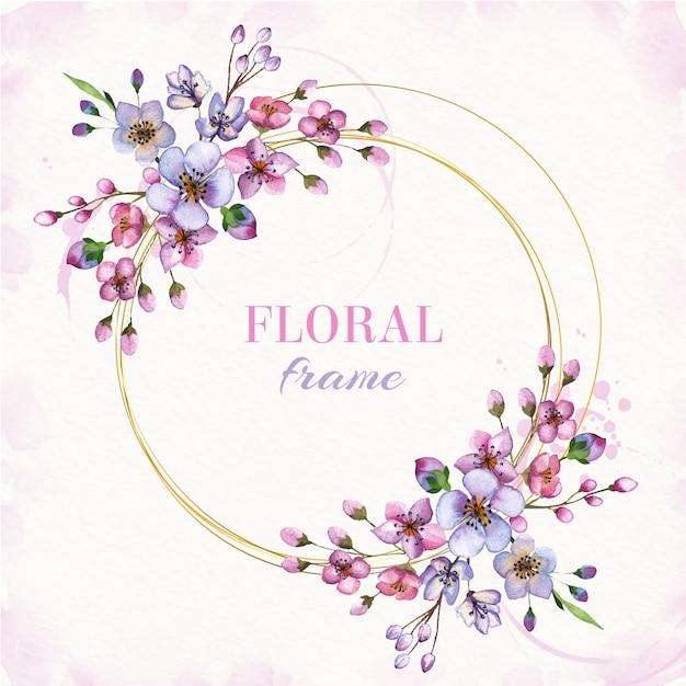 Aquarela moldura floral com mão desenhar flores Vetor Premium