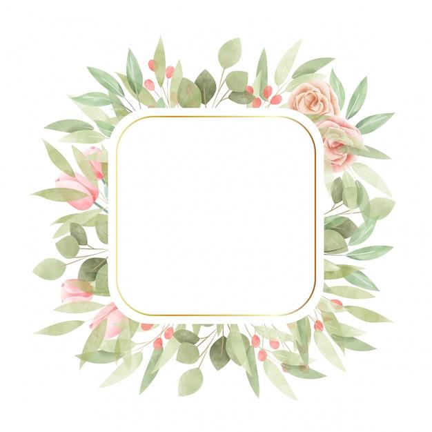 Aquarela moldura floral. fundo multiuso. Vetor Premium