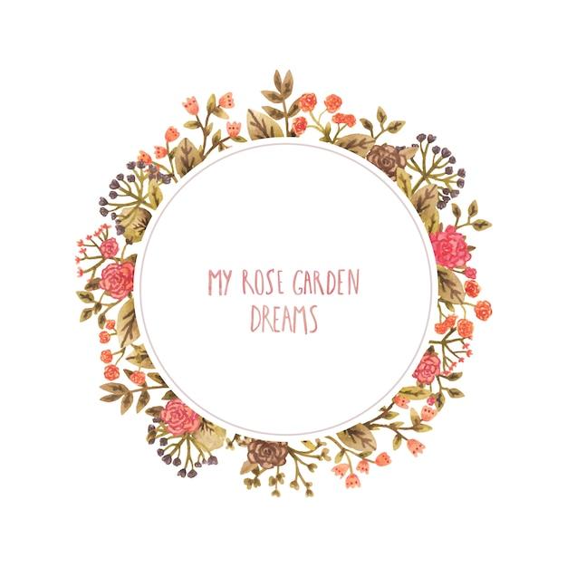 Aquarela moldura redonda com flores em estilo romântico. Vetor Premium
