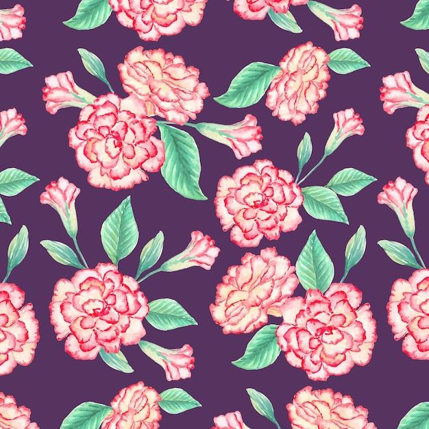 Aquarela padrão floral Vetor Premium
