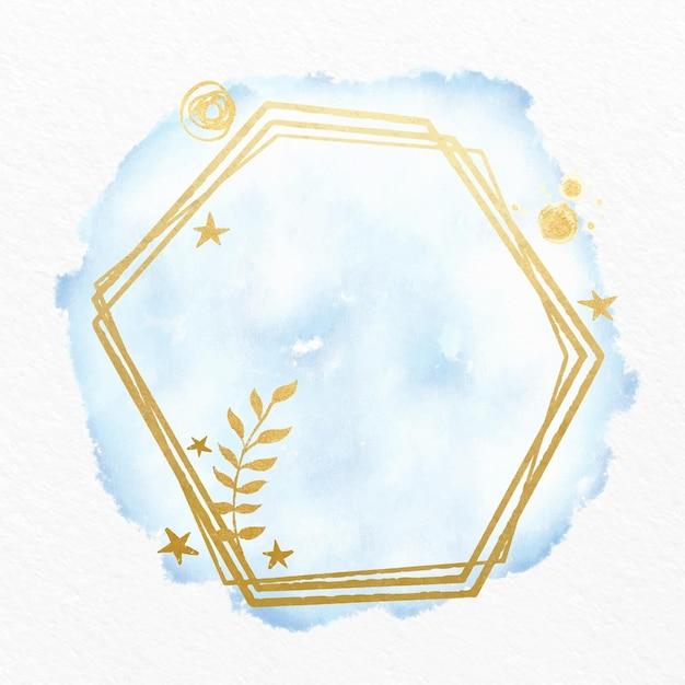 Aquarela pastel com moldura dourada Vetor Premium