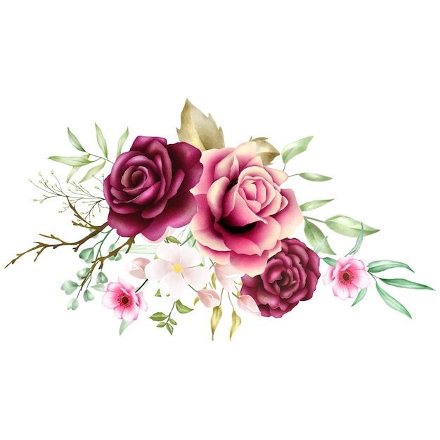 Aquarela rosa buquê backfround Vetor Premium