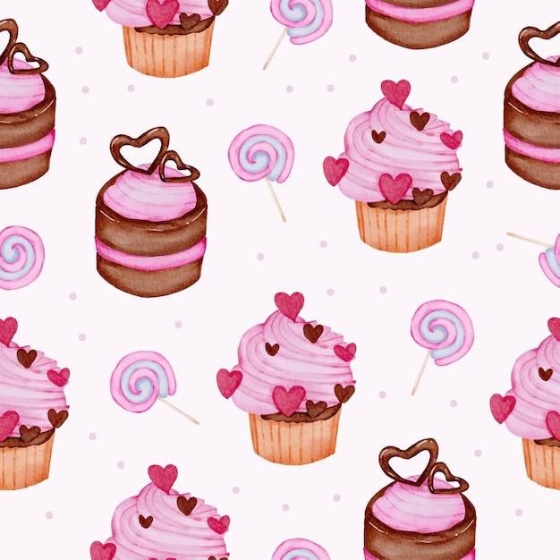 Aquarela seamless pattern com sobremesa e doces, isolado aquarela valentine conceito elemento adorável romântico vermelho-rosa corações para decoração, ilustração. Vetor grátis