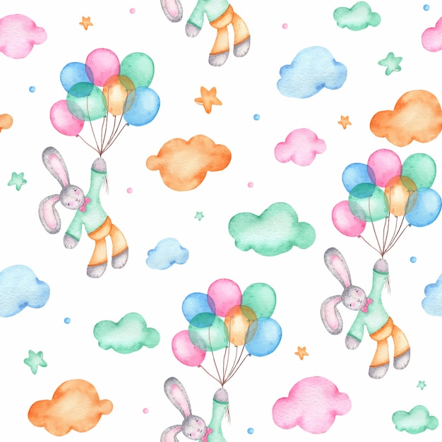 Aquarela sem costura padrão com coelhinho da páscoa em balões de ar Vetor grátis