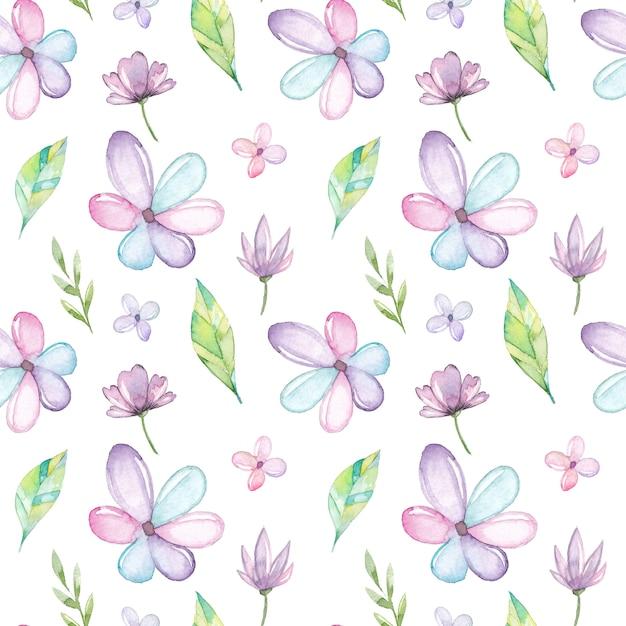 Aquarela sem costura padrão com flores e folhas Vetor Premium