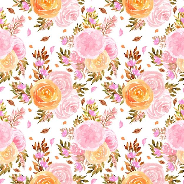 Aquarela sem costura padrão com rosas Vetor Premium