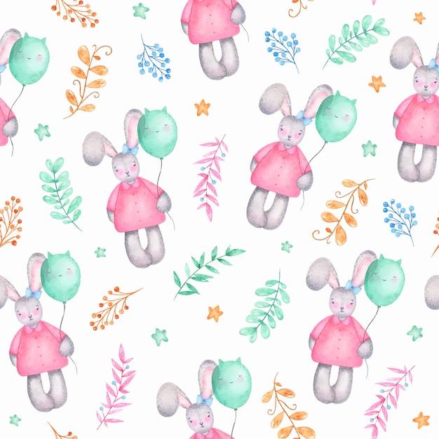 Aquarela sem costura padrão feliz páscoa linda garota coelho com flores de balões de ar Vetor grátis