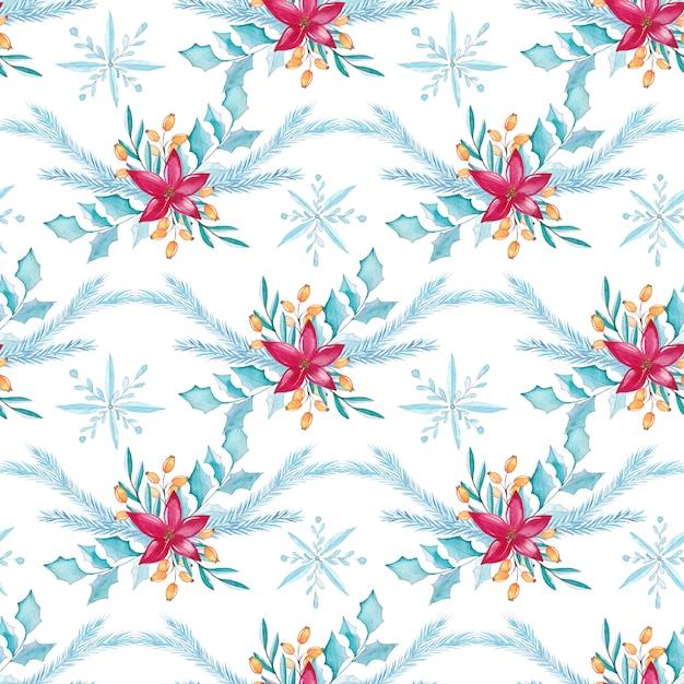 Aquarela sem costura padrão floral de natal Vetor Premium