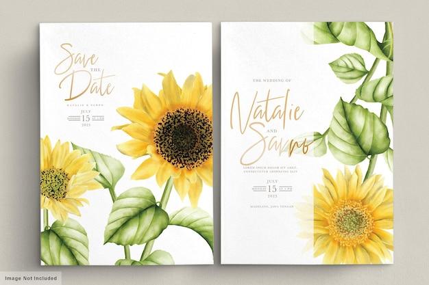Aquarela sol flor cartão de convite de casamento Vetor grátis