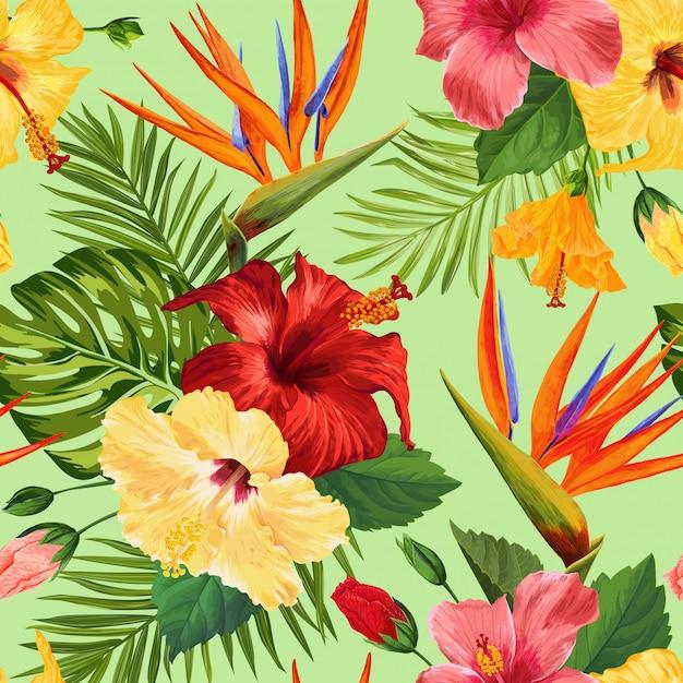 Aquarela tropical flores padrão sem emenda. flores desabrochando exóticas florais mão desenhada Vetor Premium