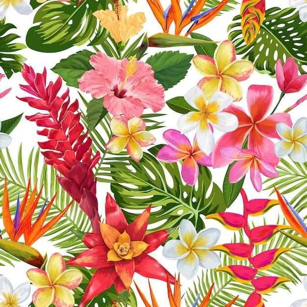 Aquarela tropical flores padrão sem emenda. flores exóticas florescendo plumeria Vetor Premium