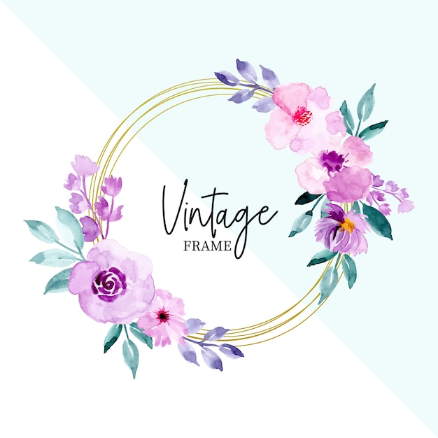 Aquarela vintage moldura floral e folhas Vetor Premium