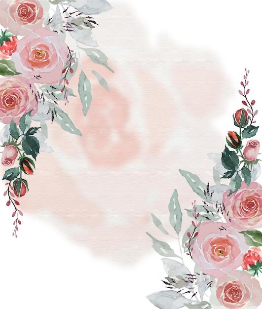Aquarela vintage rosas vermelhas e folhas verdes com fundo de pétalas de rosas macias para a decoração do cartão Vetor Premium