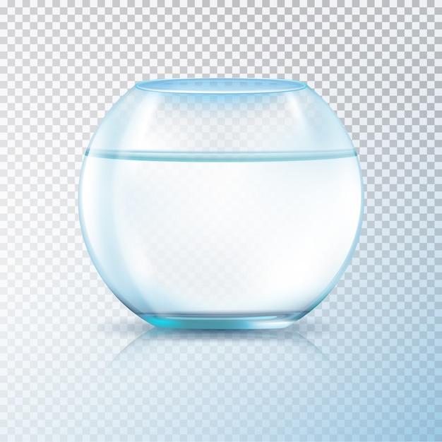 Aquário de aquário de aquário de paredes redondas de vidro cheio de ilustração em vetor de fundo transparente de imagem realista de água clara Vetor Premium