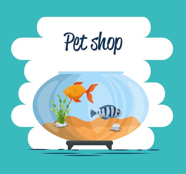 Aquário tigela com peixe Vetor Premium