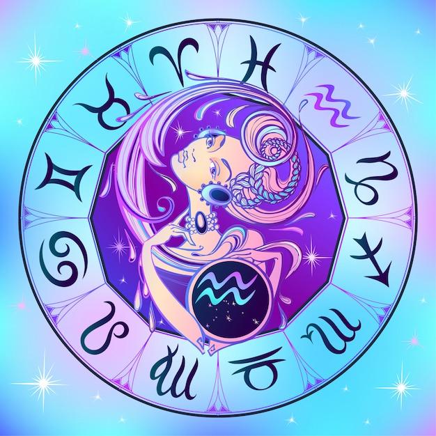 Aquarius do sinal do zodíaco uma menina bonita. horóscopo. astrologia. Vetor Premium