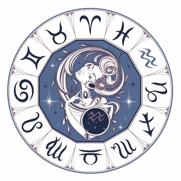 Aquarius do sinal do zodíaco uma menina bonita. Vetor Premium