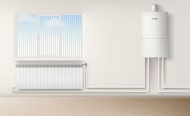 Aquecedor de água da caldeira na parede conectado com radiador Vetor grátis