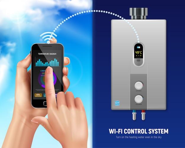 Aquecedor de água realista colorido ilustração inteligente smartphone e aquecedor de água com wifi em casa inteligente Vetor grátis